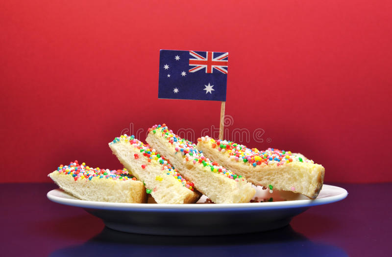 Traditional australian food fairy bread with flag for Authentic australian cuisine