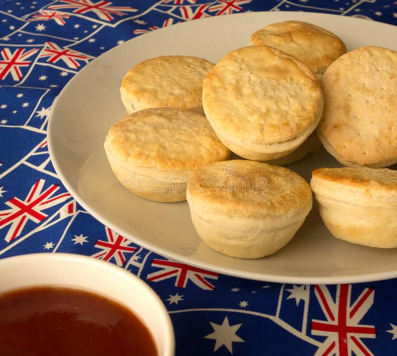 Download Traditional Australian Meat Pies And Tomato Sauce. Stock Photo - Image: 40157516