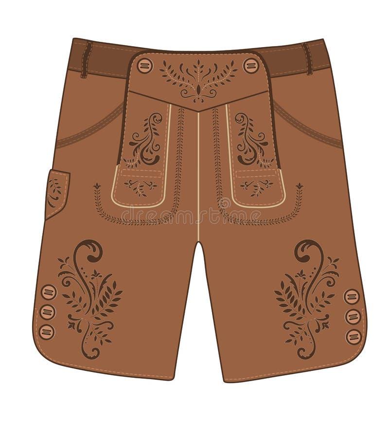 Traditional austrian and bavarian lederhosen leather pants. Vector hand drawn illustration. Traditional austrian and bavarian lederhosen leather pants decorated royalty free illustration