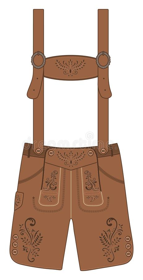 Traditional austrian and bavarian lederhosen leather pants. Vector hand drawn illustration. vector illustration