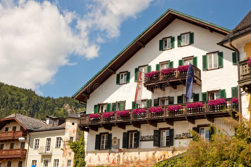 Traditional austrian building in St. Gilgen stock image