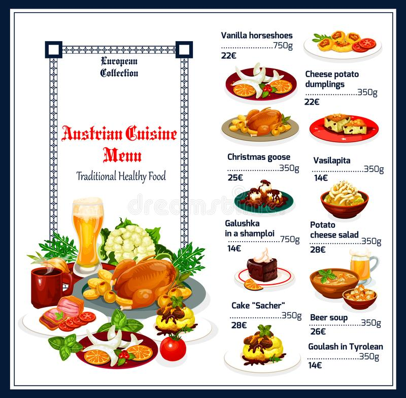 Traditional Austrian cuisine menu dishes. Austrian cuisine menu, food vector. Vanilla horseshoes and cheese potato dumplings, Christmas goose and vasilopita vector illustration