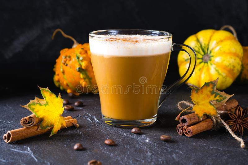 Traditional autumn dishes. Halloween, Thanksgiving. Mug of hot and spicy aromatic pumpkin latte with whipped cream on top. Ingredients for cook spicy pumpkin stock image