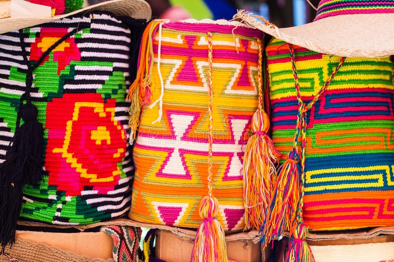 Traditional bags hand knitted by Wayuu women royalty free stock image
