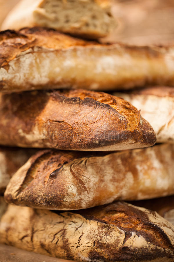 Traditional baguettes in France stock image