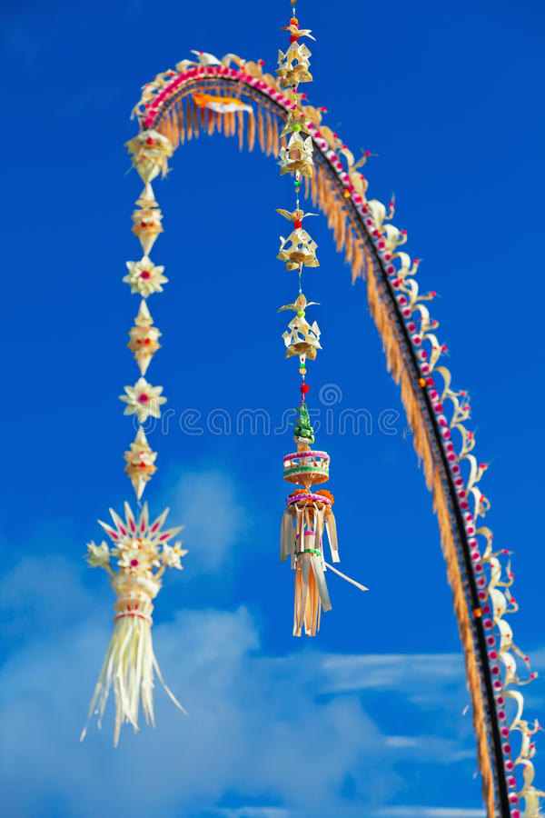 Traditional Bali penjor - decoration for Galungan holidays royalty free stock photography