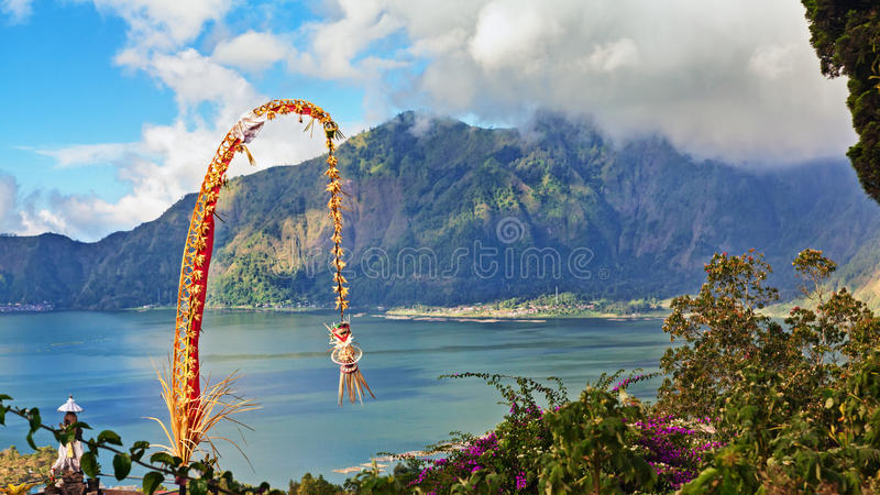 Traditional Bali penjor - decoration for Galungan holidays royalty free stock images