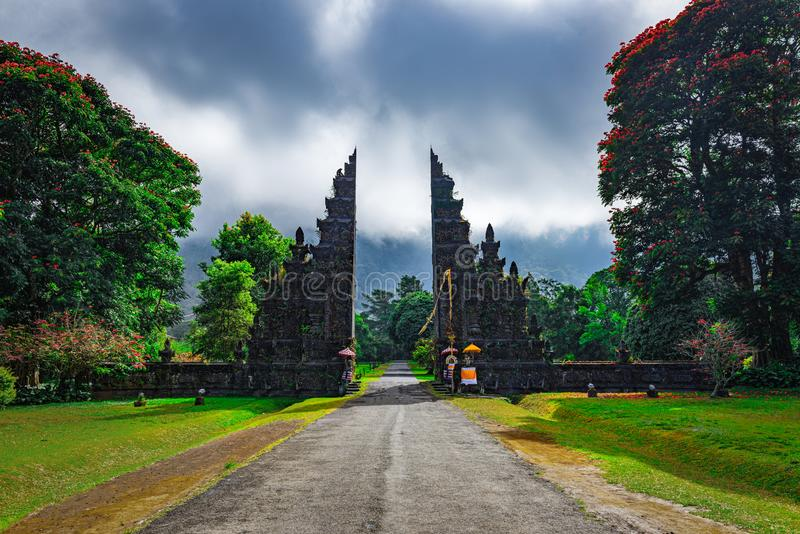 Traditional Balinese architecture, view of landmark temple gates in Northern Bali,Indonesia.  royalty free stock images