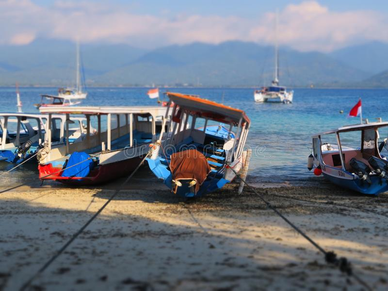 Traditional balinese Boat low tide Gili Air stock photo