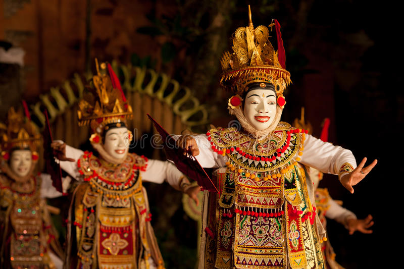 Traditional Balinese dance Legong and Barong royalty free stock photography