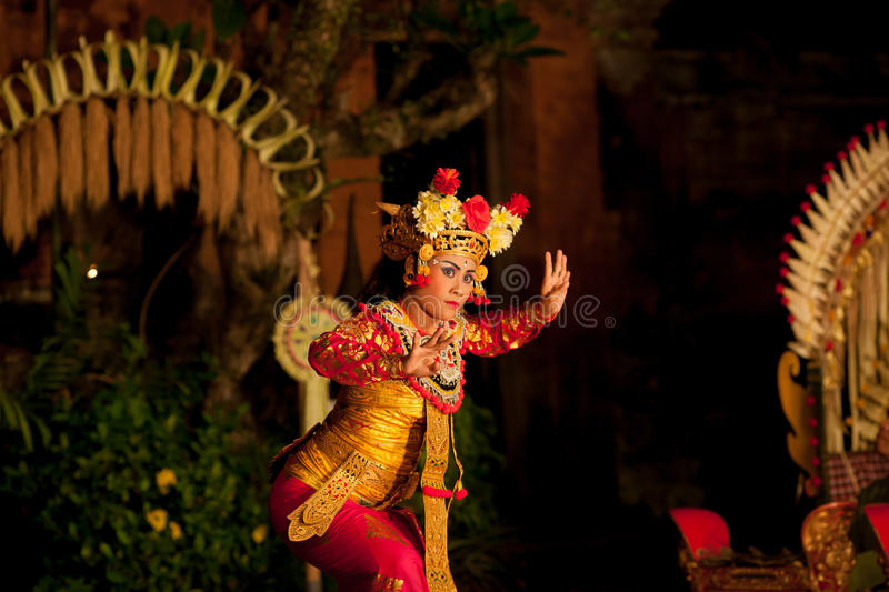 Traditional Balinese dance Legong and Barong. UBUD, BALI, INDONESIA - SEPTEMBER 20: Traditional dance Legong and Barong is performed by local professional actors stock photos