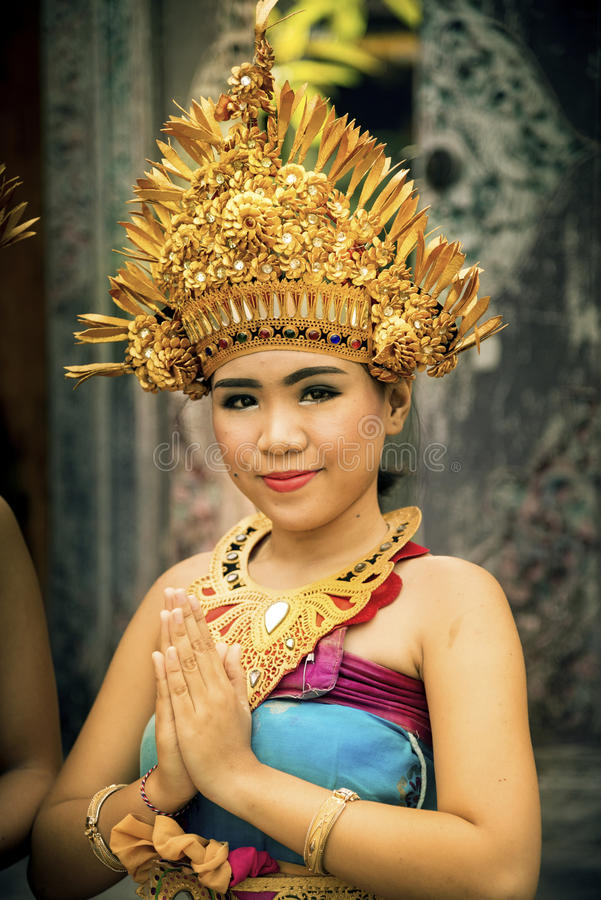 Traditional Balinese dressed girl portrait. stock image