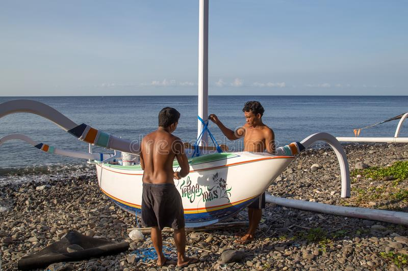 Traditional Balinese Fishing Boat royalty free stock photos