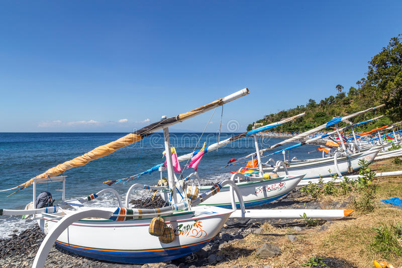 Traditional Balinese Fishing Boats stock photo