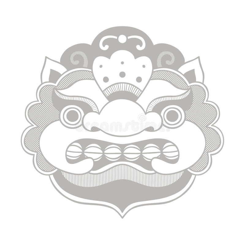 Traditional balinese mask. Barong. stock illustration
