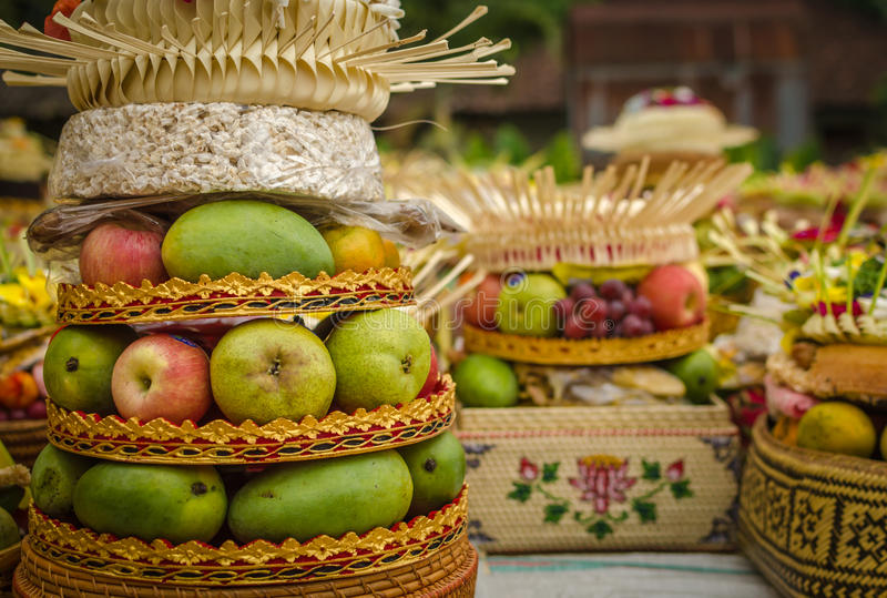 Traditional balinese offerings stock images