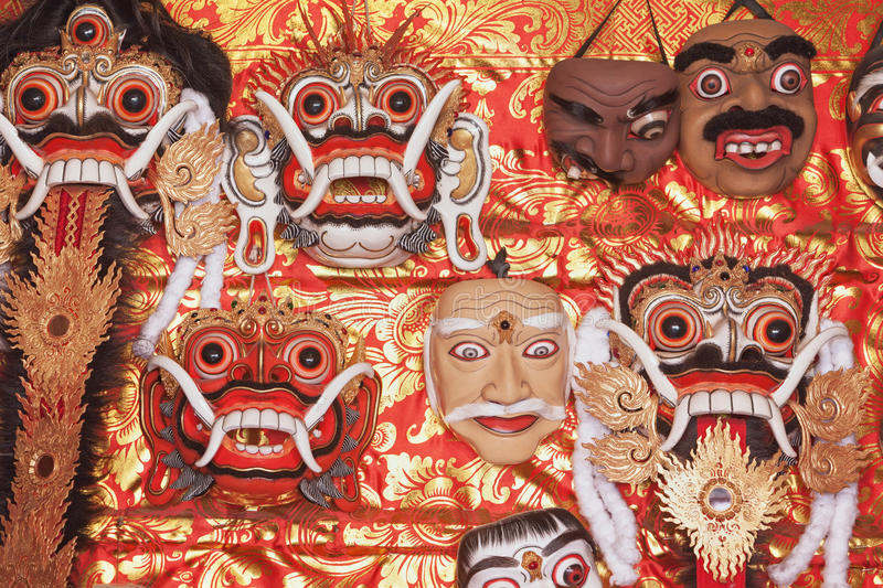 Traditional Balinese Rangda and Topeng show masks. Traditional balinese masks for folk show Topeng, canonical masks of Rangda spirit for ritual temple dances royalty free stock images