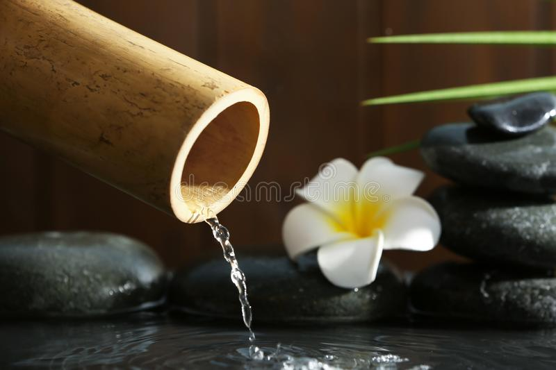 Traditional bamboo fountain with spa stones and flower royalty free stock photography