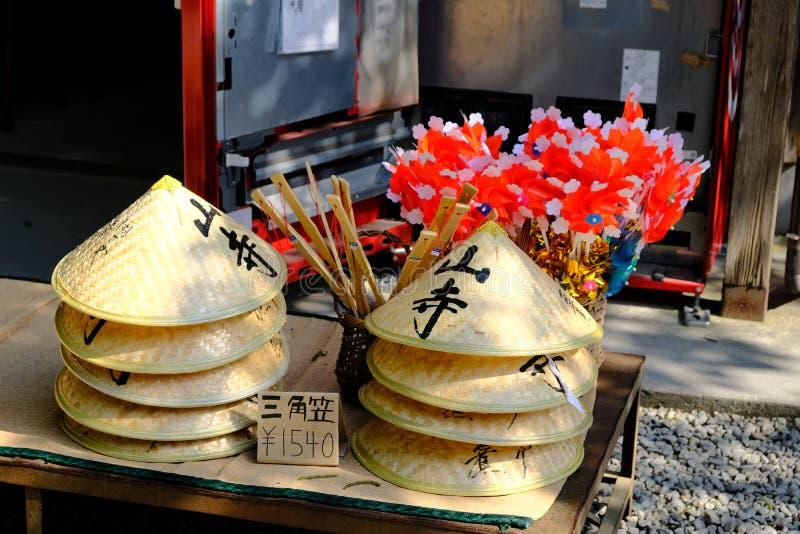 Traditional bamboo hat sold at Yamadera, Japan stock photo