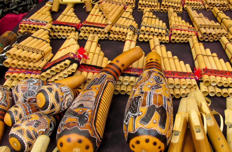 Traditional Bamboo Panpipes. Traditional instruments for South American music. Traditional Bamboo Panpipes royalty free stock image