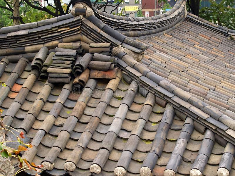 Traditional Bamboo Style Ceramic Roof Tiles Seoul Stock