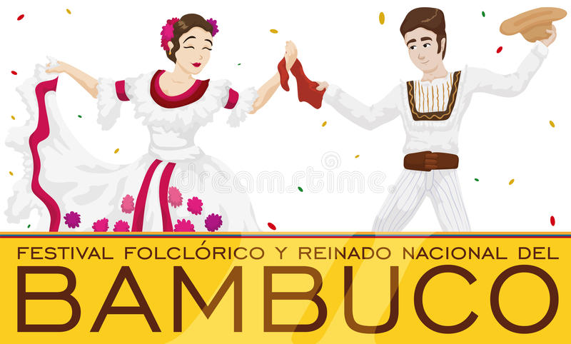 Traditional Bambuco Dancers with Confetti Rain for Colombian Folkloric Festival, Vector Illustration. Banner with traditional dancers celebrating Bambuco Pageant royalty free illustration