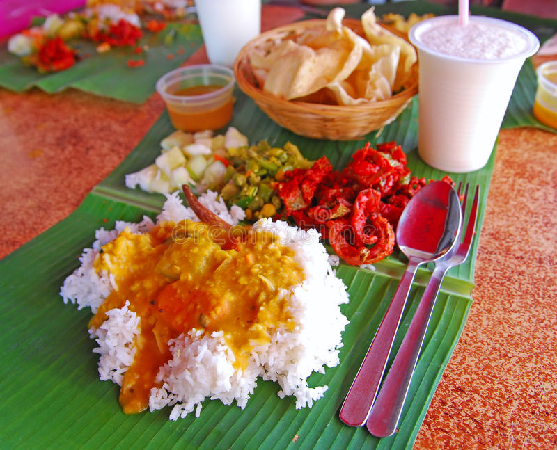 Traditional Banana Leaf Rice royalty free stock photography