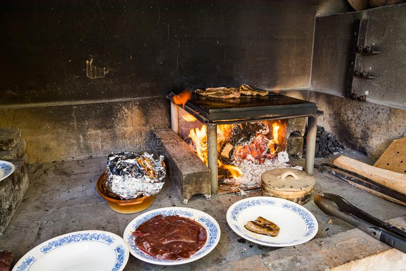 Traditional barbecue place in Bosnia and Herzegovina.  royalty free stock photo