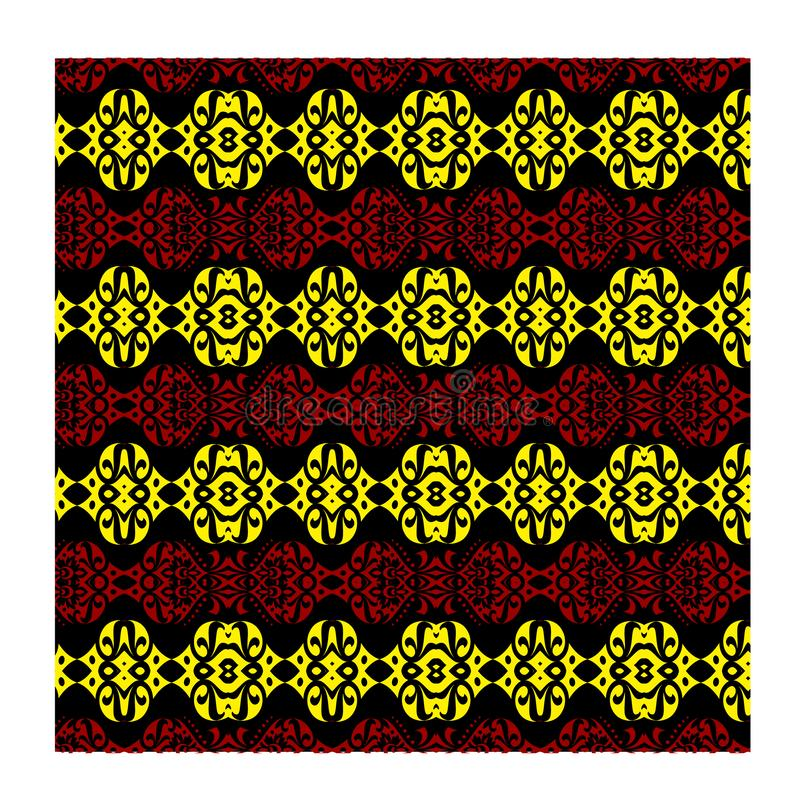 Vector background seamless red yellow batik for fashion textile print. royalty free stock image