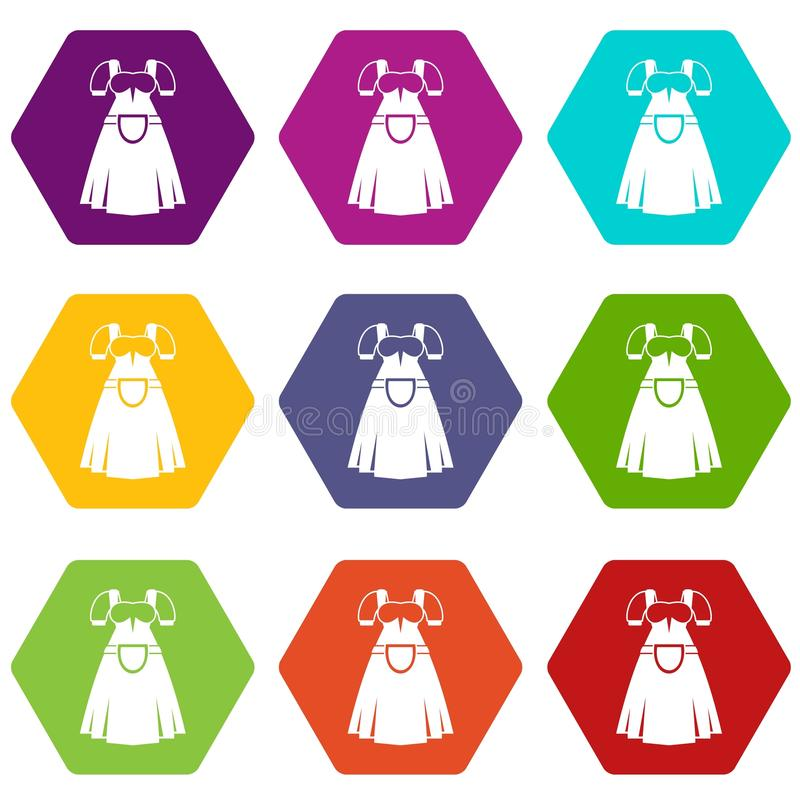 Traditional Bavarian dress icon set color hexahedron. Traditional Bavarian dress icon set many color hexahedron isolated on white vector illustration stock illustration