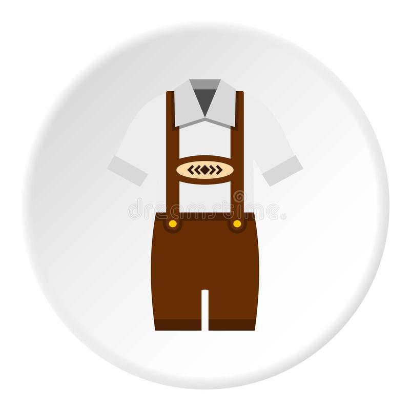 Traditional Bavarian men suit icon circle. Traditional Bavarian men suit icon in flat circle isolated vector illustration for web stock illustration