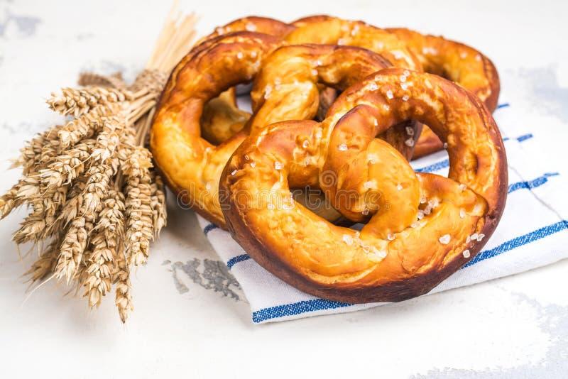 Homemade bavarian pretzel royalty free stock photos