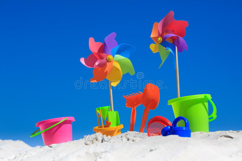 Traditional beach toys stock photo