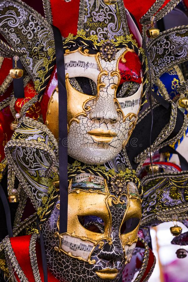 The traditional beautiful Venetian mask for participation in the carnival royalty free stock images