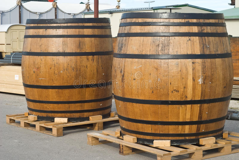 Traditional Beer Kegs. At the Oktoberfest in Munich stock images