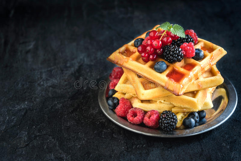 Traditional Belgian waffles with berry fruit royalty free stock images
