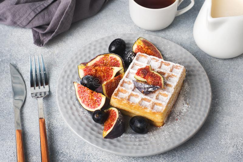 Traditional Belgian waffles with powdered sugar grapes and figs. Cozy homemade Breakfast. Gray concrete background. Copy space royalty free stock image