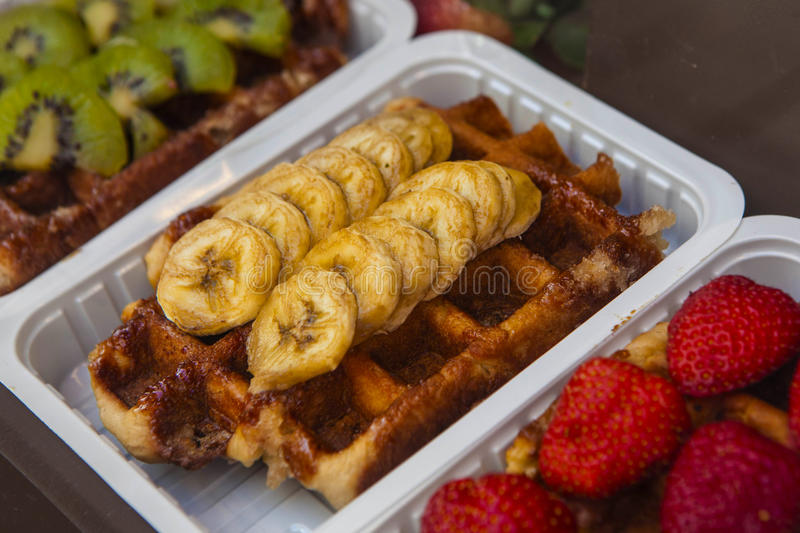 Traditional Belgian waffles ready to eat stock photography