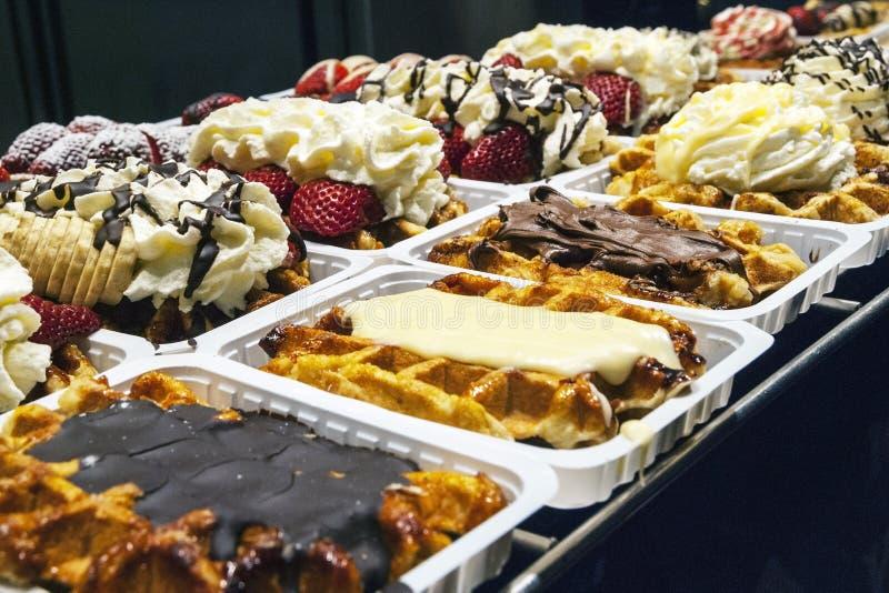 Traditional belgian waffles selling at corner bakery royalty free stock photo