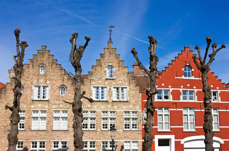 Traditional old Belgium House Facades in Bruges stock photography