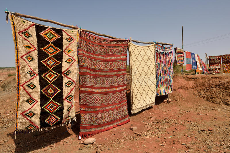 Traditional berber carpets for sale in Morocco. August 01, 2015. Morocco is one of the most popular tourist place in North Africa royalty free stock photo