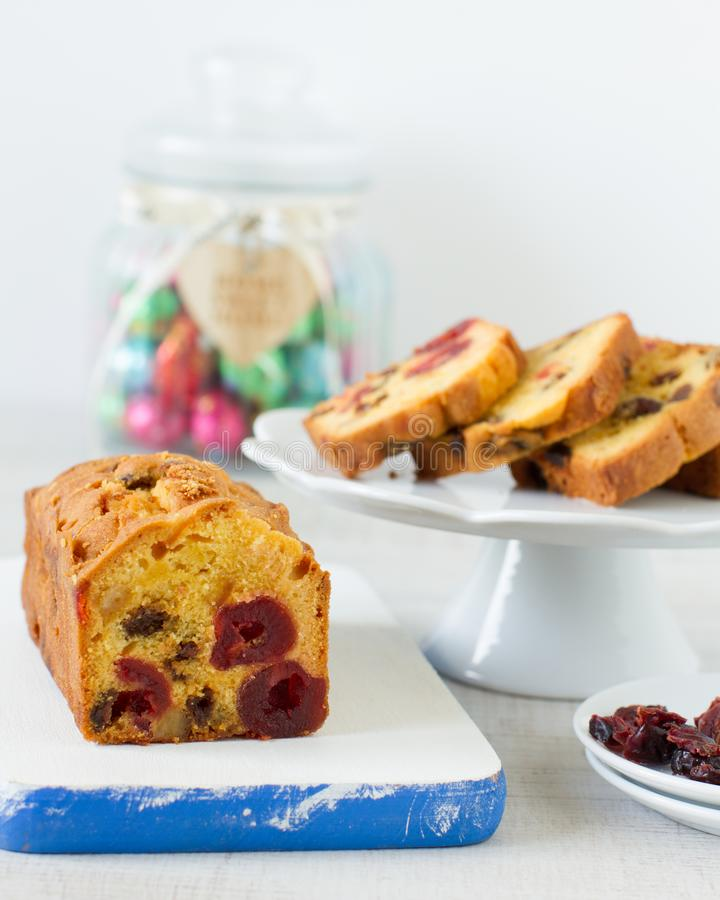 Traditional berry fruits pound cake for breakfast royalty free stock photography