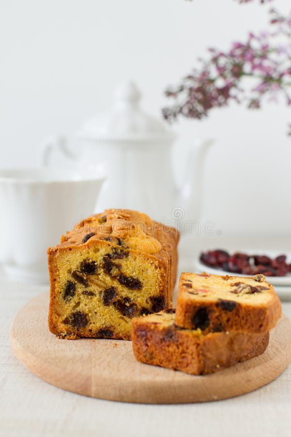 Traditional berry fruits pound cake for breakfast stock photos