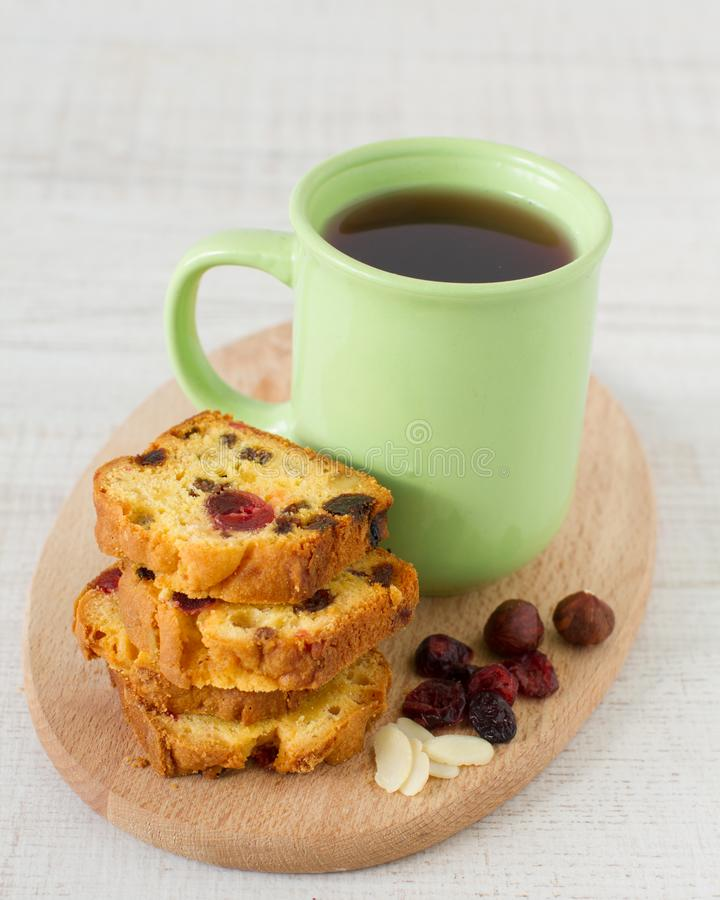 Traditional berry fruits pound cake for breakfast royalty free stock image