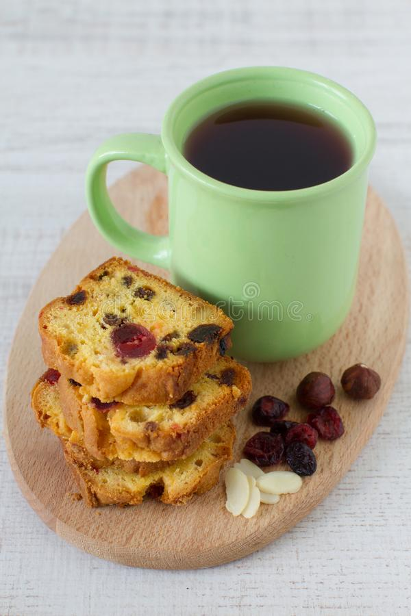 Traditional berry fruits pound cake for breakfast royalty free stock photo