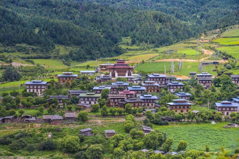 Traditional Bhutanese village , Ura Valley , Bhutan stock photography