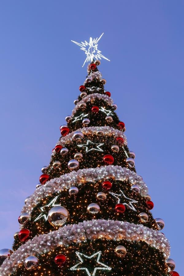 Traditional big christmas tree. Street decor royalty free stock image