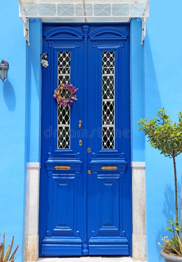 Traditional blue door at Nafplio town Argolis Greece. Famous greek destination royalty free stock photography