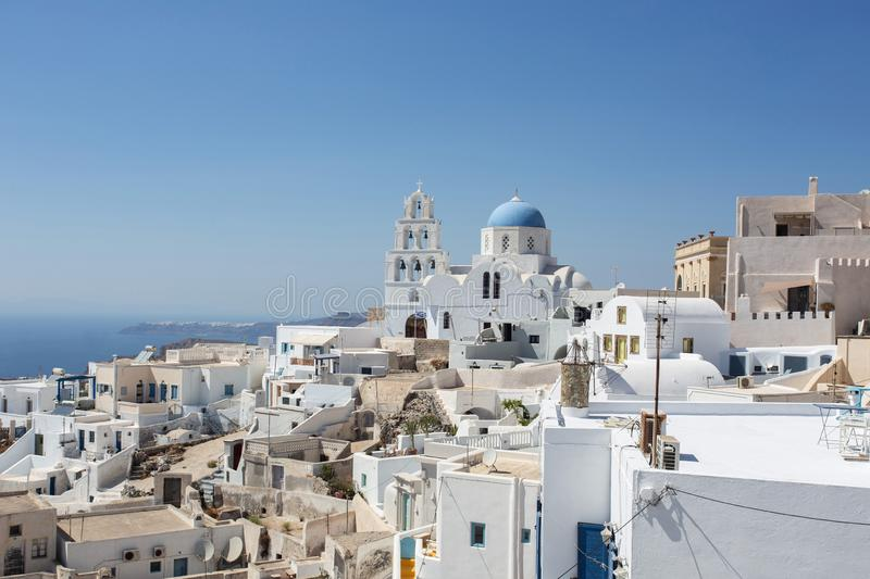 Traditional blue and white village in Santorini, Cyclades islands, Greece stock images