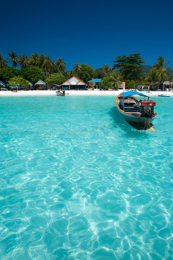 Traditional Boat Crystal Clear Water Stock Photos
